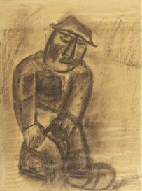 Artwork by Constant Permeke, Farmer, Made of pencil and charcoal on paper