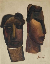 Artwork by Constant Permeke, Primitive heads, Made of oil on canvas