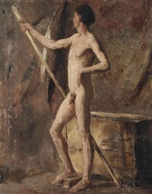 Artwork by James Ensor, Modèle: homme au bâton, Made of oil on canvas
