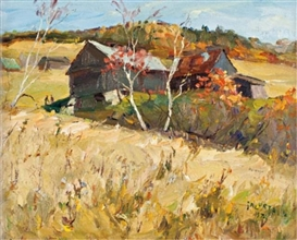 Artwork by Francesco Iacurto, Barn in Autumn, Made of Oil on canvas