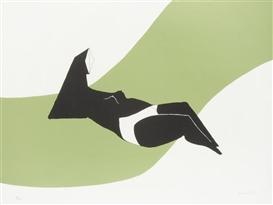 Artwork by Lynn Chadwick, Figure on a Green Wave, Made of Lithograph
