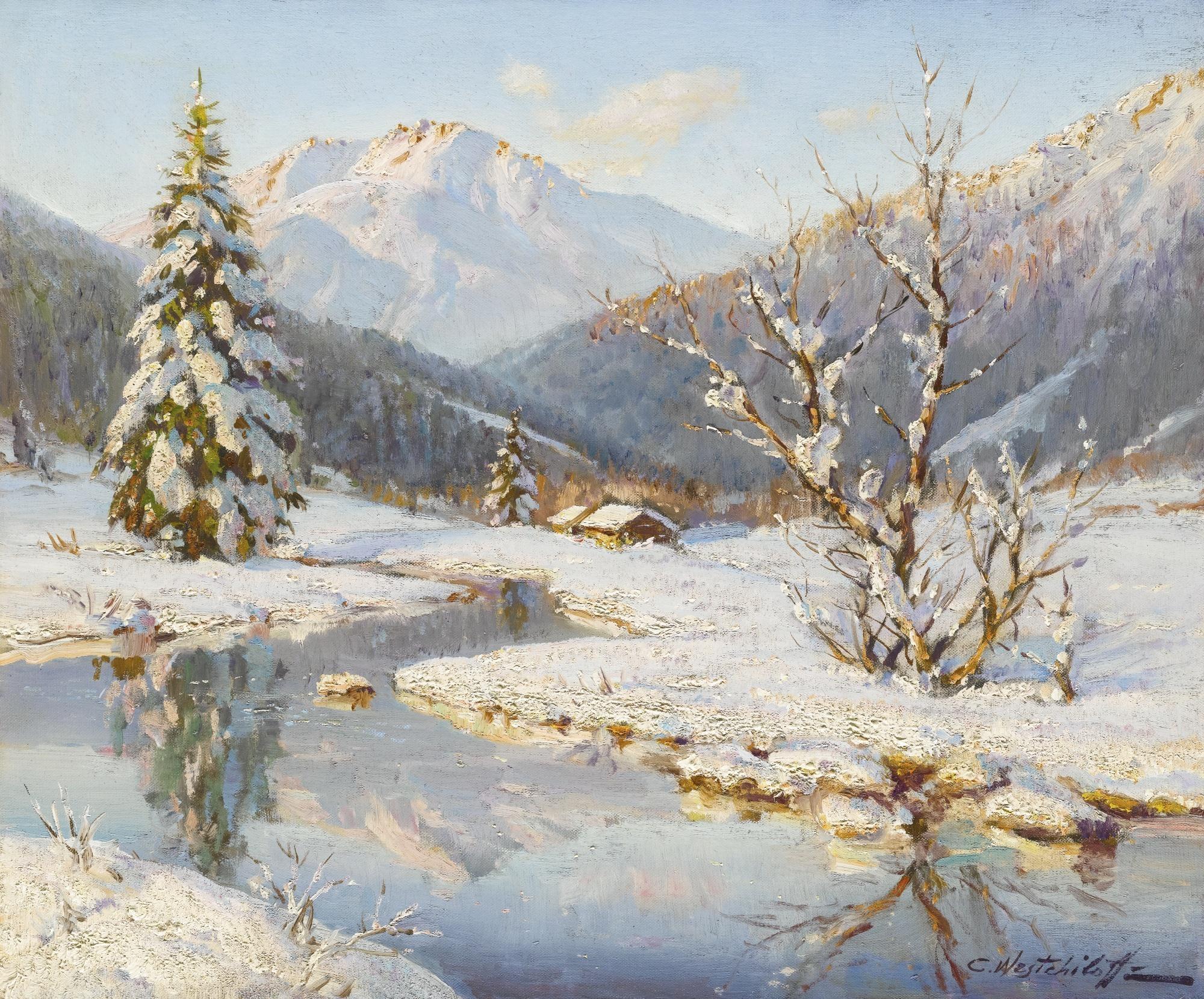 Зима картины маслом 4
