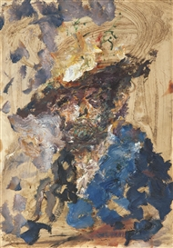 Artwork by Anatoly Zverev, SELF-PORTRAIT WITH HAT, Made of oil on paper