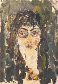 Artwork by Anatoly Zverev, PORTRAIT OF ALIKI COSTAKIS, Made of oil on paper