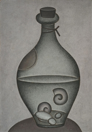 Artwork by Dmitry Krasnopevtsev, STILL LIFE WITH BOTTLE, Made of oil on masonite