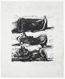Artwork by Henry Moore, Three Reclining Figures, from La Poésie (Cramer 325), Made of Lithograph