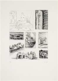 Artwork by Henry Moore, Ideas for Sculpture (Cramer 103), Made of Etching