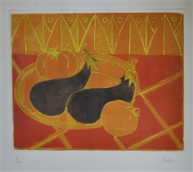Artwork by André Bicât, Aubergines, Made of Aquatint