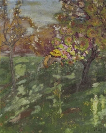 Artwork by Henri Lebasque, Fillette cueillant des fleurs, Made of oil and traces of coloured crayon on canvas