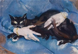 Artwork by Max Oppenheimer, Die schwarze Katze, Made of oil on canvas