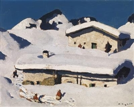 Artwork by Alfons Walde, Winteridylle, Made of oil on cardboard