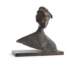 Artwork by Giacomo Manzù, Busto di giapponese, Made of bronze