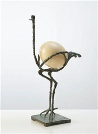 Artwork by Diego Giacometti, L'Autruche, Made of green patina with ostrich egg