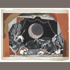 Artwork by Pavel Tchelitchew, Moonlight battle scene, for Rimsky-Korsakov's Coq d'Or, Berlin, Made of gouache and silver-coloured speckles on card