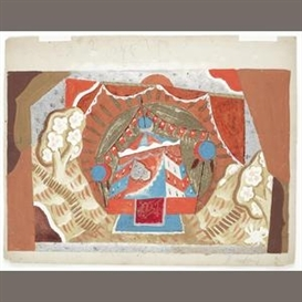 Artwork by Pavel Tchelitchew, Royal tent, for Rimsky-Korsakov's Coq d'Or, Berlin, Made of gouache and silver-coloured speckles on card