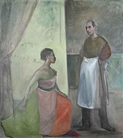 Artwork by Ansel Krut, ANNUNCIATION IN THE STUDIO, Made of oil on canvas