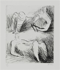 Artwork by Henry Moore, Two Reclining Figures, Made of Etching