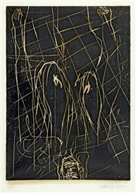 Artwork by Georg Baselitz, Karos kaum, Made of Woodcut on handpainted paper