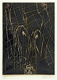 Artwork by Georg Baselitz, Karos kaum, Made of Woodcut on handpainted paper