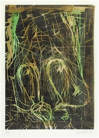 Artwork by Georg Baselitz, Kreuz und quer, Made of Woodcut on handpainted paper