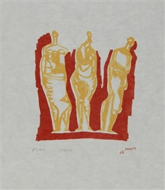 Artwork by Henry Moore, Three Standing Figures, Made of Lithograph printed in colors