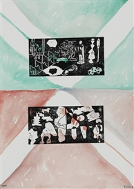 Artwork by Rolf Winnewisser, 7 Works: Untitled, Made of linocuts over watercolor