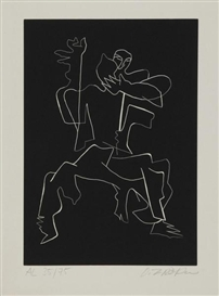 Artwork by Ossip Zadkine, Le soir tombe, o sanglante mer, Made of Etching
