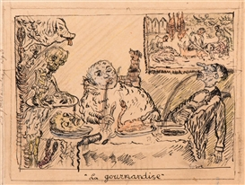 Artwork by James Ensor, 'La gourmandise', Made of Ink, pencil and coloured pencil on paper