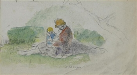 Artwork by Henri Lebasque, Mère avec son bébé dans le paysage, Made of Watercolor and pencil on paper
