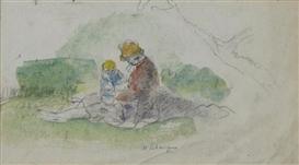 Artwork by Henri Lebasque, Mère avec son bébé dans le paysage, Made of Watercolor and pencil on paper