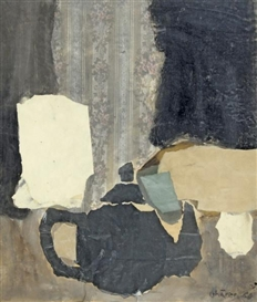 Artwork by Hans Schärer, Komposition mit schwarzem Teekrug, Made of Mixed media and collage on paper