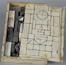 Artwork by Thomas Virnich, Baukasten, Made of Wood, graphite and paper, in wooden building kit