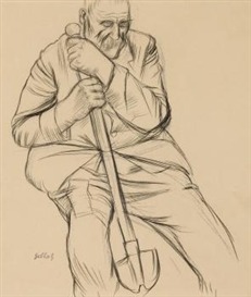 Artwork by Karl Hubbuch, Seated Worker with a Spade, Made of Chalk lithgraph on drawing paper