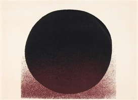 Artwork by Rupprecht Geiger, rotbraun - schwarz, Made of Colour serigraph on laid paper