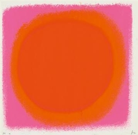 Artwork by Rupprecht Geiger, rot - orange / blau - schwarz, Made of Colour serigraph on laid card