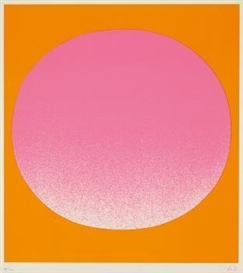Artwork by Rupprecht Geiger, leuchtrot kalt auf orange, Made of Colour serigraph on card