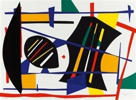 Artwork by Robert Jacobsen, Lyriske Muligheder - Etude Sculpturelle, Made of colour serigraphs