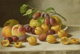 Artwork by John F. Francis, Still Life with Peaches, Plums and Apples, Made of oil on canvas