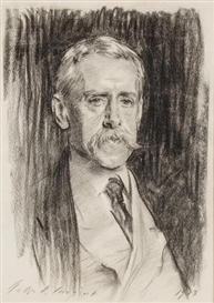 Artwork by John Singer Sargent, Portrait of Joseph Bangs Warner, Made of charcoal on paper