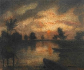 Artwork by Otto Modersohn, Evening on the Wümme (Moonlight over the Wümme), Made of Oil on canvas