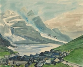 Artwork by Max Pechstein, Mountain Lake, Made of Watercolour and charcoal on laid card