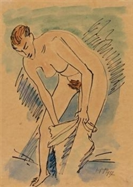 Artwork by Max Pechstein, A Woman Dressing, Made of India ink pen and watercolour on Japan