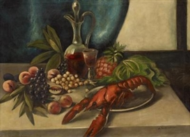 Artwork by Anton Räderscheidt, Still Life with Lobster, Made of Oil on canvas