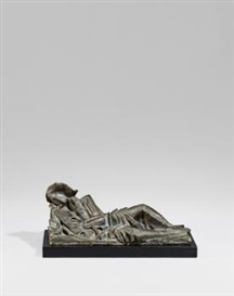 Artwork by Ossip Zadkine, Musicien au repos, Made of Bronze, grey-brown patinated