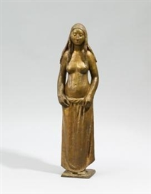 Artwork by Gerhard Marcks, Chloë, Made of Bronze, gilt and partly brown patinated