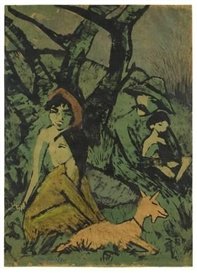 Artwork by Otto Mueller, LAGERNDE ZIGEUNERFAMILIE MIT ZIEGE, Made of Colour lithograph on paper, reworked with yellow crayon