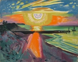 Artwork by Max Pechstein, SONNENUNTERGANG AN DER SEE, Made of Oil on canvas