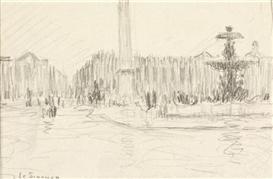 Artwork by Henri Eugène Augustin le Sidaner, Place de la Concorde, Made of pencil,