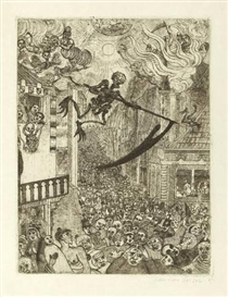 "Artwork by James Ensor, LA MORT POURSUIVANT LE TROUPEAU DES HUMAINS"", Made of Etching on Japan paper"