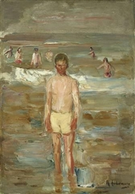 Artwork by Max Liebermann, STEHENDER KNABE AM STRANDE, Made of Oil on paper, laid down on cardboard